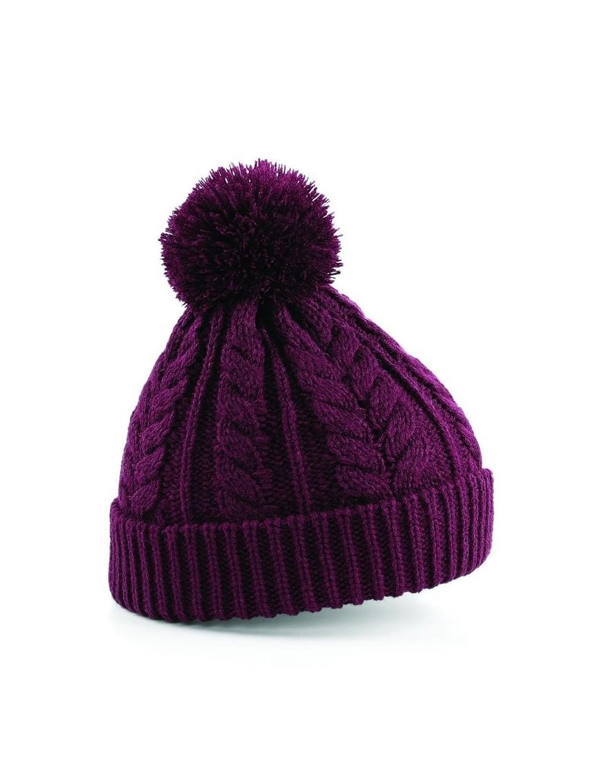 Beanie pom pom knit thick