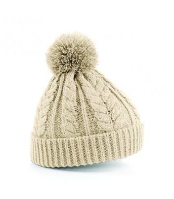 Thick knit pompom hat