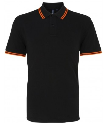 Contrast collar polo shirt with short sleeves