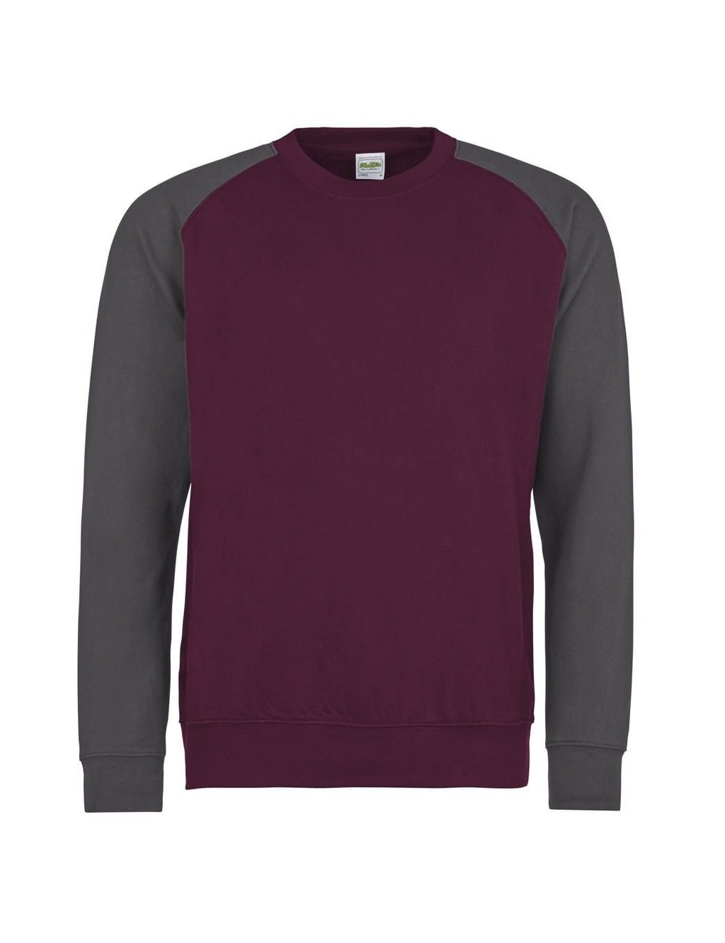 Round neck sweater with contrasting sleeves
