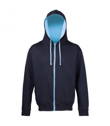 Thick zipped sweatshirt with contrasting hood