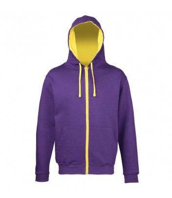 Sweat zipped thick hoodie contrasting